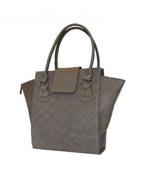 Kvalitná prešívaná kožená kabelka č.8644 v šedej farbe