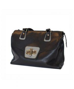 Luxusná dámska kožená kabelka č.8578 v šedo čiernej farbe