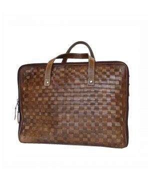 Luxusná moderná tkaná kožená kabelka č. 8282 v hnedej farbe
