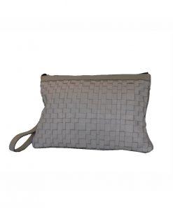 Luxusná nádherná tkaná kožená kabelka č. 8636 v šedej farbe