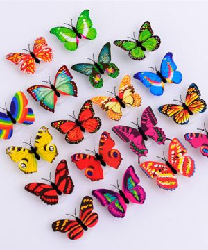 3D motýliky na stenu s podsvietením, 10 kusov