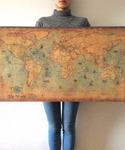 Retro mapa sveta na stenu, 50 cm x 100 cm