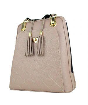 Kožený batoh z pravej hovädzej kože č.8668 v ružovej farbe (6)