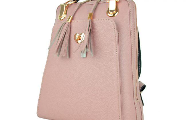 Kožený ruksak z pravej hovädzej kože, ružová farba (3)