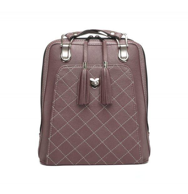 Luxusný kožený ruksak z pravej hovädzej kože č.8668 v tmavej fialovo hnedej farbe (2)