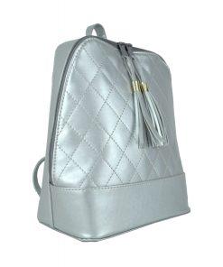 Dámsky kožený ruksak zo syntetickej kože v striebornej farbe (2)