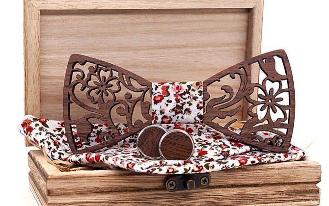Drevený reliéfny set vo viac farbách - drevený motýlik + manžety + vreckovka