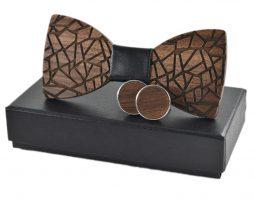 Viac-farebný set - drevený motýlik + vreckovka + manžetové gombíky