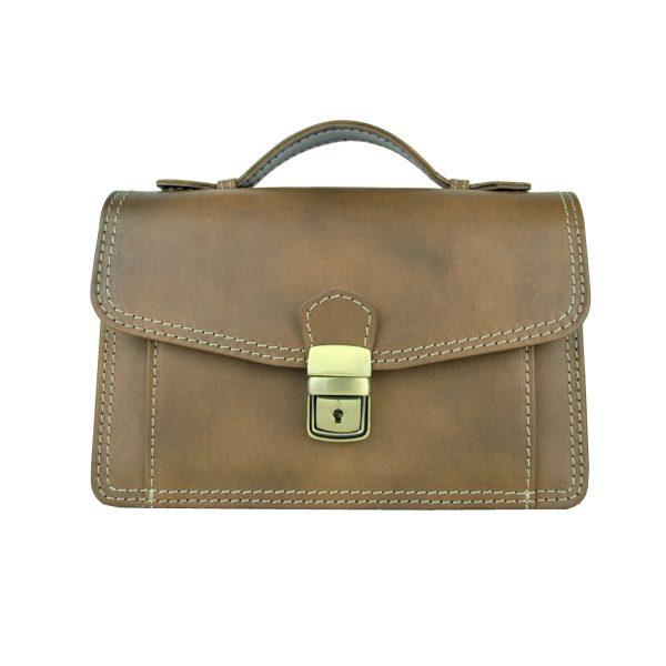 Luxusná kožená etuja, viacúčelové púzdro, ručne tamponovaná, svetlo hnedá (3)