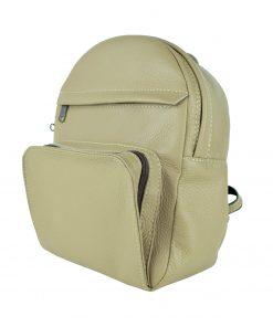 Luxusný kožený batoh z prírodnej kože, khaki farba (4)