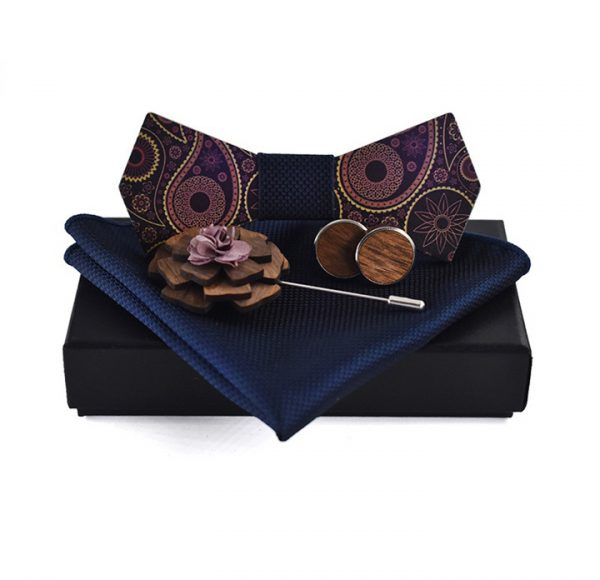 Luxusný motýlikový set v rôznych farbách - drevený motýlik+ manžety + vreckovka + brošňa