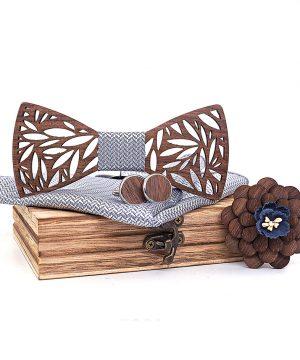 Motýlikový set v rôznych farbách - drevený motýlik + manžety + vreckovka + brošňa