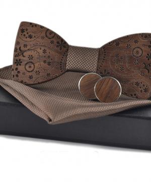 Motýlikový set v rôznych farbách - drevený motýlik + manžety + vreckovka