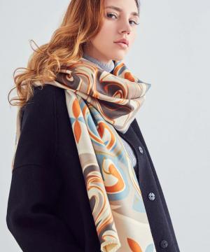 Ručne tkaný šál z kašmíru s moderným prepracovaným vzorom