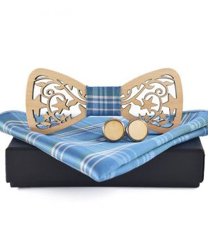 Svetlý motýlikový set vo viac farbách - drevený motýlik + manžety + vreckovka