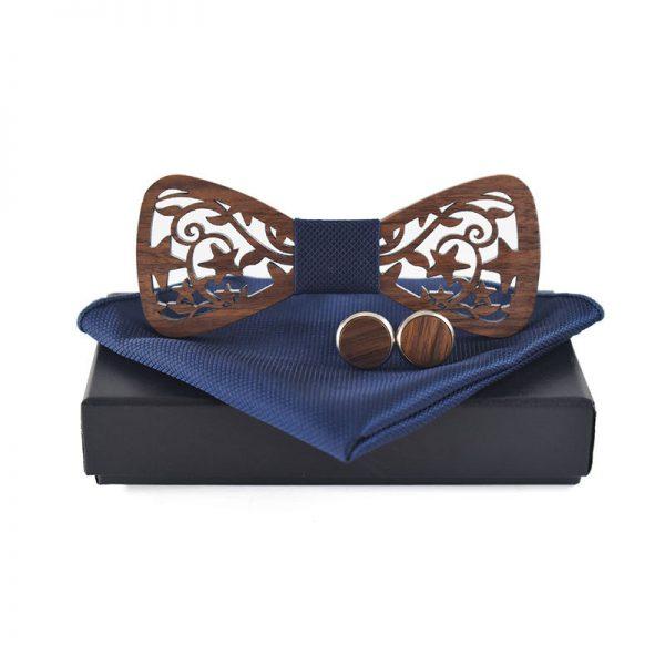 Tmavý motýlikový set vo viac farbách - drevený motýlik + manžety + vreckovka