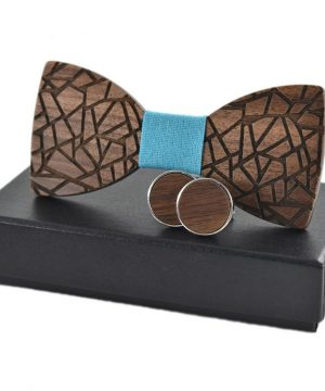 Viac-farebný set - drevený motýlik + manžetové gombíky