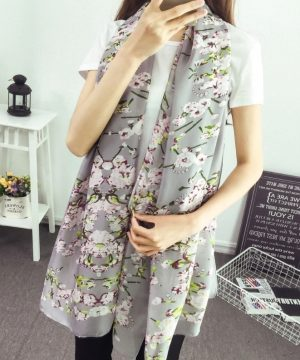 Dámsky hodvábny šál s prepracovanými kvetinami - sivý, rozmer 180 x 90 cm