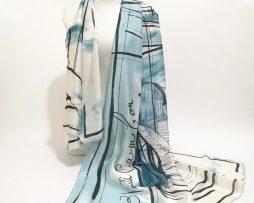 Dámsky hodvábny šál v modernom dizajne-modrý, rozmer 180 cm x 90 cm