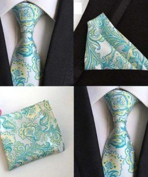 Hodvábna kravata a hodvábna vreckovka - spoločenský set _ model A