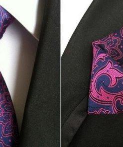 Hodvábna kravata a hodvábna vreckovka - spoločenský set _ model B