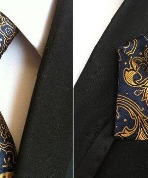 Hodvábna kravata a hodvábna vreckovka - spoločenský set _ model D