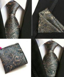 Hodvábna kravata a hodvábna vreckovka - spoločenský set _ model E