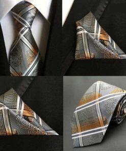 Hodvábna kravata a hodvábna vreckovka - spoločenský set _ model F