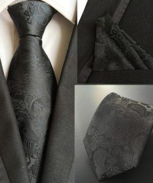 Hodvábna kravata a hodvábna vreckovka - spoločenský set _ model G