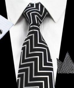 Kravatová sada - kravata + manžetové gombíky + vreckovka s čiernym vzorom