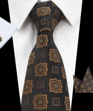 Kravatová sada - kravata + manžetové gombíky + vreckovka s hnedým vzorom