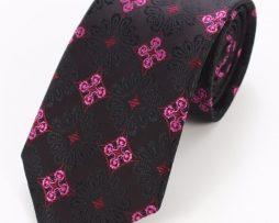 Kravatová sada - kravata + manžetové gombíky + vreckovka s ružovým vzorom