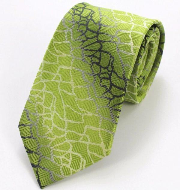 Kravatová sada - kravata + manžetové gombíky + vreckovka so zeleným vzorom