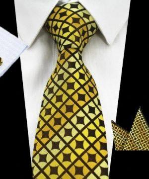Kravatová sada - kravata + manžetové gombíky + vreckovka v žltej farbe