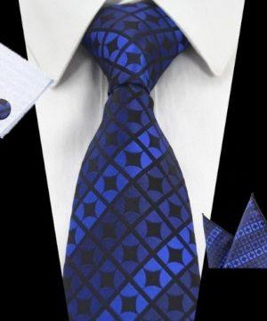 Kravatová sada - kravata + manžetové gombíky + vreckovka v modrej farbe