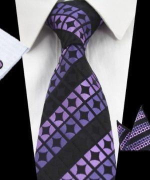 Kravatová sada - kravata + manžetové gombíky + vreckovka vo fialovej farbe