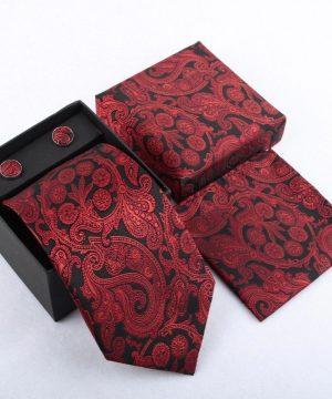 Luxusný kravatový set so vzorom v červeno-čiernej farbe