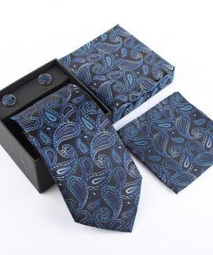 Luxusný kravatový set so vzorom v modro-čiernej farbe