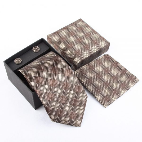 Luxusný kravatový set so vzorom v sivo-krémovej farbe