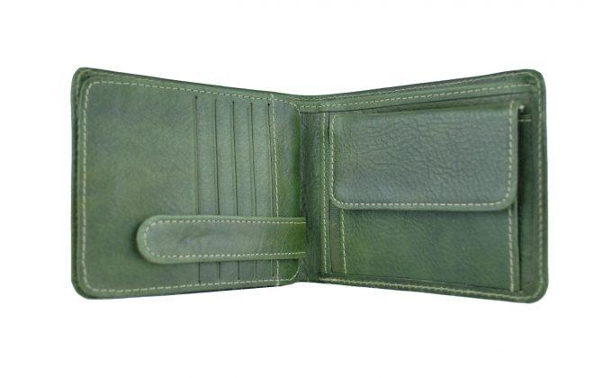 Peňaženka z prírodnej kože v zelenej farbe, ručne tamponovaná (3)