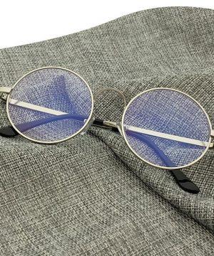 Kvalitné retro okuliare na prácu s počítačom so strieborným rámikom