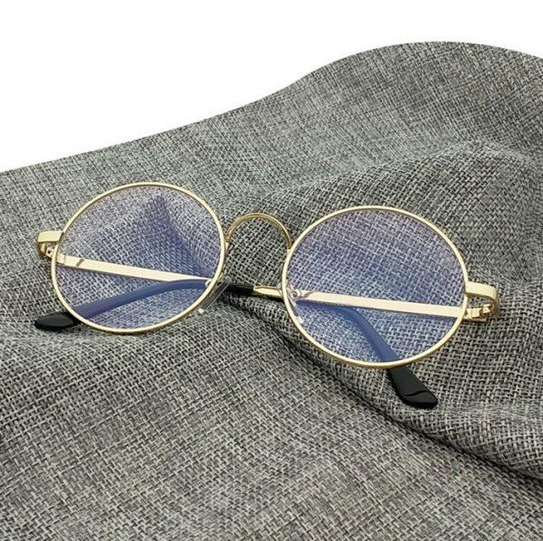 Kvalitné retro okuliare na prácu s počítačom so zlatým rámikom