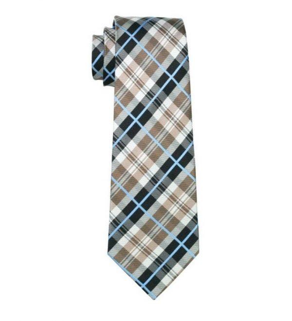 Kravatová sada - kravata + manžetové gombíky + vreckovka s károvaným vzorom