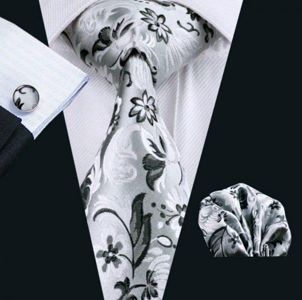 Kravatová sada - kravata + manžetové gombíky + vreckovka so strieborným vzorom