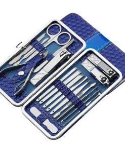 Luxusná 18-dielna manikúrová sada v modrom púzdre