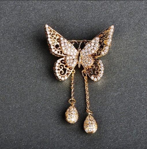 Luxusná brošňa na šaty v tvare zlatého motýľa s kryštálikmi