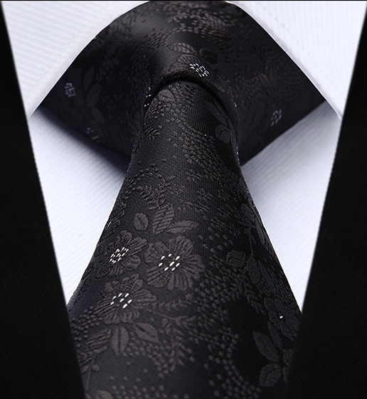 Luxusná kravatová sada - kravata a vreckovka s čiernym vzorom