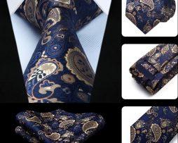 Luxusná kravatová sada - kravata a vreckovka s modrým vzorom