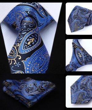 Luxusná kravatová sada - kravata a vreckovka so vzorom v modrej farbe