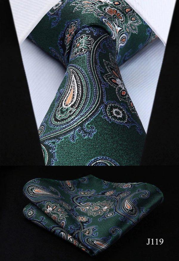 Luxusná kravatová sada - kravata a vreckovka so zeleným vzorom